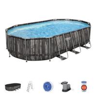 Каркасный овальный бассейн Bestway 610х366х122 см + фильтр-насос 5678 л/ч, лестница, тент