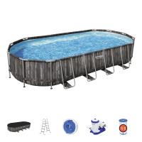 Каркасный овальный бассейн Bestway 732х366х122 см + фильтр-насос 9463 л/ч, лестница, тент