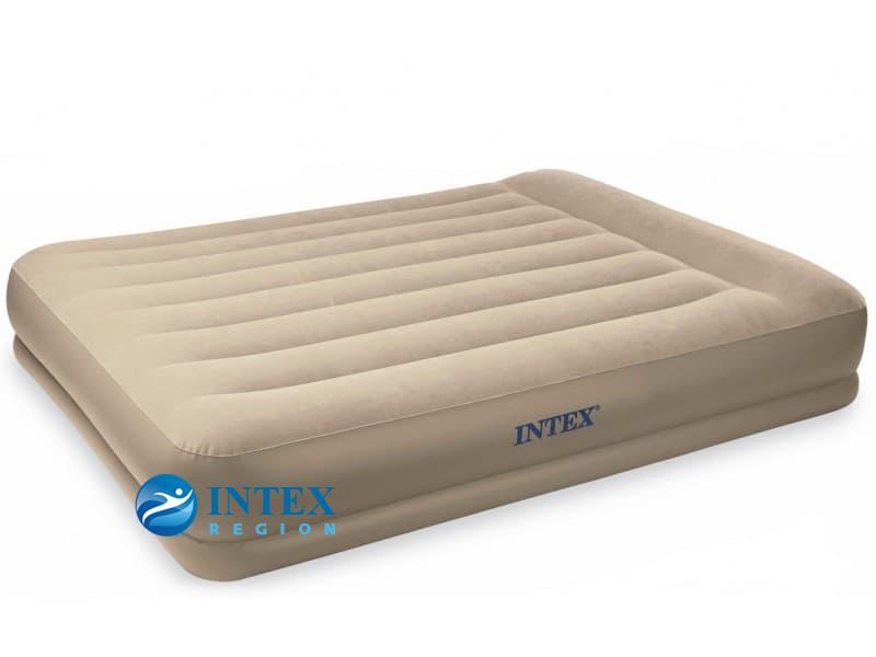 67748 Надувная кровать Pillow Rest Mid-Rise Bed 152х203х35см с подголовником, встроенный насос 220V