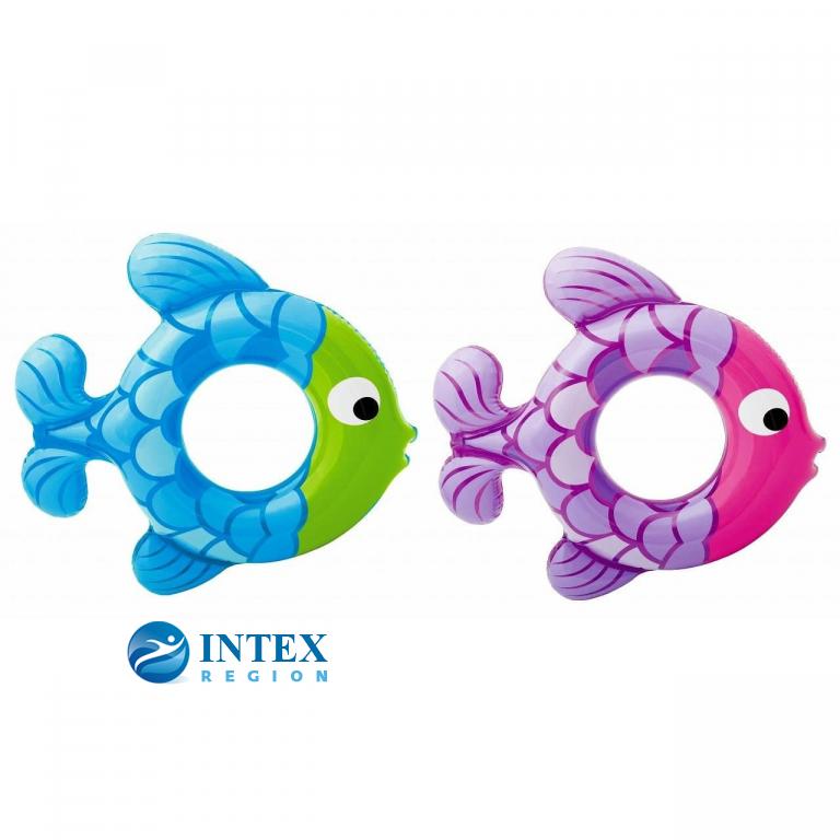 Надувной круг Рыбки 2 вида, Intex арт.59222, 77х76см, на 3-6 лет