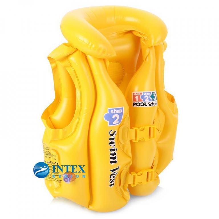 Надувной жилет желтый Intex арт.58660, 50х47см, на 3-6 лет