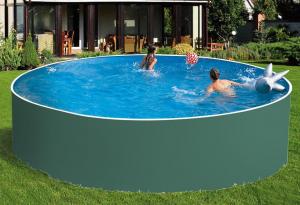 Сборный бассейн ЛАГУНА 24418 круглый 244х125 см (зеленый)